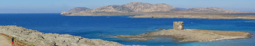 plażowy Italy losu angeles panoramy pelosa Sardinia Obrazy Stock
