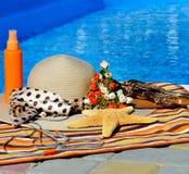 Plażowy kapelusz, trzepnięcie klapy, głowa dzwoni, słońce kiść zdjęcia stock