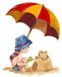 plażowy kasztel zrobił piaskowi target1497_0_ kształt Royalty Ilustracja