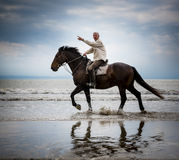 plażowy koński target2018_0_ jeździec Zdjęcie Stock