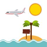 Plażowy krajobraz być na wakacjach ikony Zdjęcia Stock