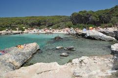 Plażowy krajobraz, Porto Selvaggio, Apulia, Włochy Zdjęcia Stock