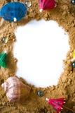 Plażowy mocap Rama z plażowym piaskiem Pojęcie podróż Fotografia Stock