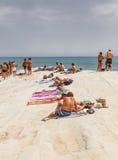 Plażowy niedaleki biała faleza dzwonił Scala dei Turchi Fotografia Royalty Free