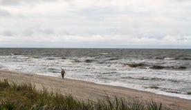 plażowy osamotniony mężczyzna Złocisty zgromadzenie, pogoda sztormowa Zdjęcia Stock