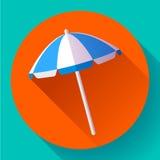 Plażowy parasol, odgórnego widoku ikona wektor Płaski projekta styl Fotografia Royalty Free