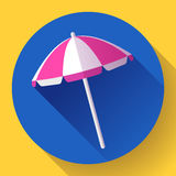 Plażowy parasol, odgórnego widoku ikona wektor Płaski projekta styl Fotografia Stock