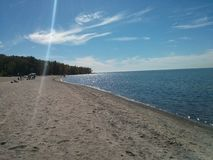 Plażowy piaska słońca krajobraz Obrazy Royalty Free