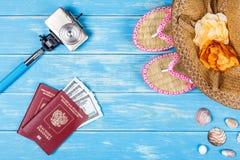 Plażowy powołania pojęcie Podróży rzeczy i akcesoria Zdjęcie Stock
