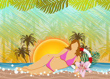 Plażowy przyjęcia lub wakacje letni tło Zdjęcie Stock