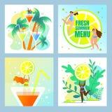 Plażowy przyjęcie, Świeży lato menu set odtwarzanie ilustracji