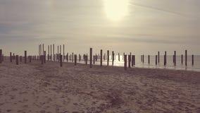 Plażowy słońca Petten Holland/PlaÅ ¼ SÅ 'oñce chodak Holandia zdjęcia stock