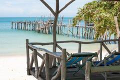 plażowy samotności mola morza widok Zdjęcie Royalty Free