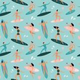 Pla?owy surfing Surfingowowie z surfboards, surfingowiec przeja?d?kami fale i lata outdoors surfboards wektoru bezszwowym wzorem, ilustracja wektor