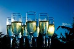 plażowy szampański zmierzch Zdjęcie Stock