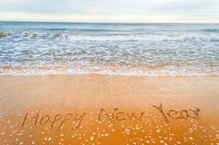 plażowy szczęśliwy nowy pisze rok zdjęcie stock