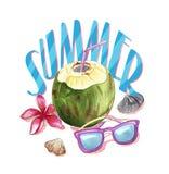 Plażowy urlopowy materiał, lato akwareli ilustracja z coconu Obraz Stock