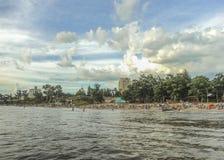 Plażowy widok od wody fotografia royalty free