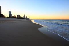 plażowy złocisty zmierzch Obrazy Royalty Free