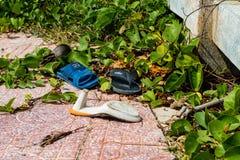 Plażowy zanieczyszczenie, klingeryt i odpady od oceanu na plaży, fotografia stock