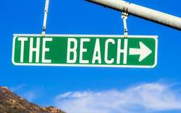 Plażowy znak uliczny Zdjęcia Stock