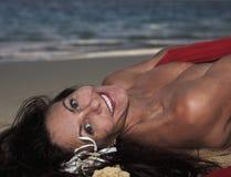 plaży czterdzieści starej kobiety rok zdjęcie royalty free