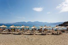 Plaża Agios Nikolaos miasto, Grecja Obraz Stock