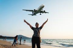 Plaża blisko lotniska Obrazy Royalty Free