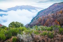 Low clouds and autumn colors in the catalan highlands royalty free stock images