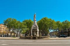 Pla de Palau square. BARCELONA, SPAIN - APRIL 9, 2017: Fountain on Pla de Palau square in Barcelona, Spain Stock Photos