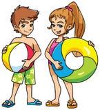 Plaża dzieciaki z akcesoriami Zdjęcia Royalty Free