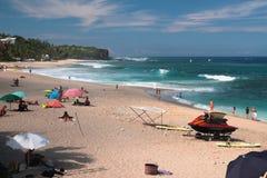 Plaża i ocean Boucan Canot, spotkanie Zdjęcie Stock