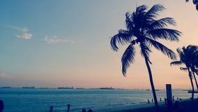 Plaża i zmierzchu niebo Zdjęcie Stock