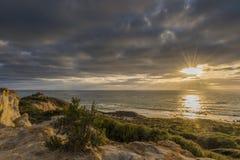 Plaża i zmierzchu niebo Zdjęcia Royalty Free