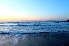 Plaża i zmierzchu niebo Fotografia Stock