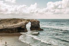 Plaża katedry z wielkimi kamieniami Ribadeo, Hiszpania Obraz Royalty Free
