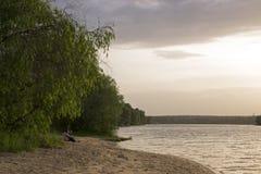 Plaża na rzece Obrazy Royalty Free