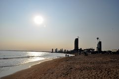plaża nad zmierzchem zdjęcia royalty free