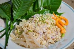 ` Pla Naem `是传统泰国开胃菜食物 免版税图库摄影