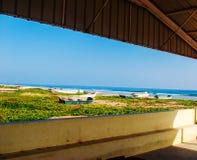 Plaża od okno Obrazy Stock