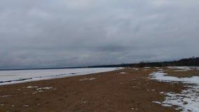 plażowa chmurna linii brzegowej pogody zima Zdjęcie Royalty Free