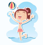 plażowa emocjonalna dziewczyny sztuka scena Zdjęcia Royalty Free