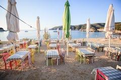 plażowa grecka tawerna Zdjęcia Stock