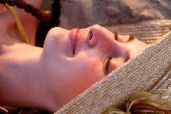 plażowa kapeluszowa kobieta Obraz Stock