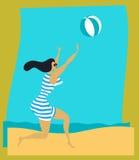 Plażowa rocznik Dziewczyna Zdjęcia Royalty Free