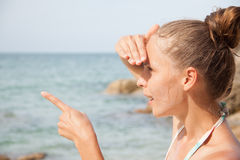 plażowa trwanie kobieta Obraz Stock