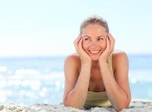 plażowa urocza kobieta Obraz Royalty Free