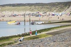 Plażowa zabawa na Brouwersdam siódmy struktura delta Pracuje Zdjęcie Royalty Free