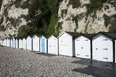 Plażowe budy przy piwem, Devon, UK. Obrazy Stock
