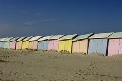 Plażowe budy w Berck w Nord Pas de Calais Zdjęcia Royalty Free